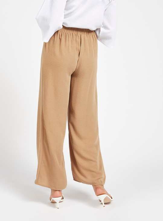 Solid Palazzo Pants with Elasticised Waistband