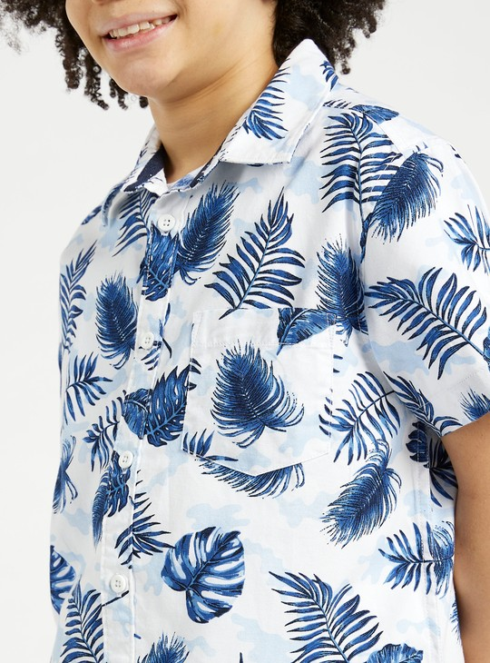 Printed Shirt with Short Sleeves and Button Closure