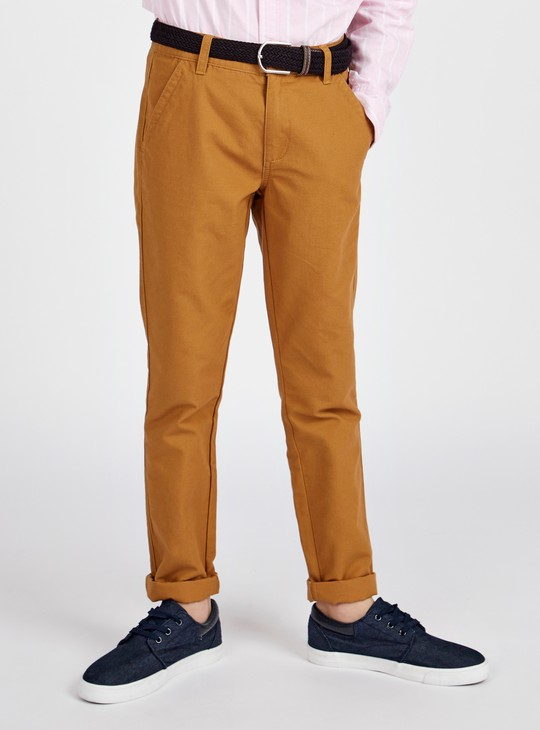 Full Length Solid Trousers with Pocket Detail and Belt Loops