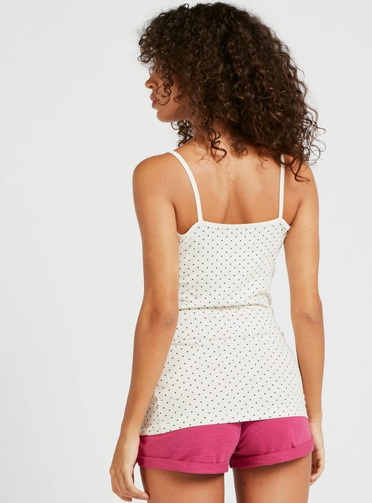 All-Over Print Camisole with Scoop Neck and Spaghetti Straps