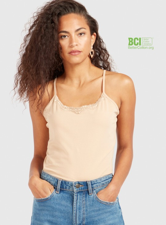 Solid Sleeveless Camisole with Scoop Neck and Lace Detail