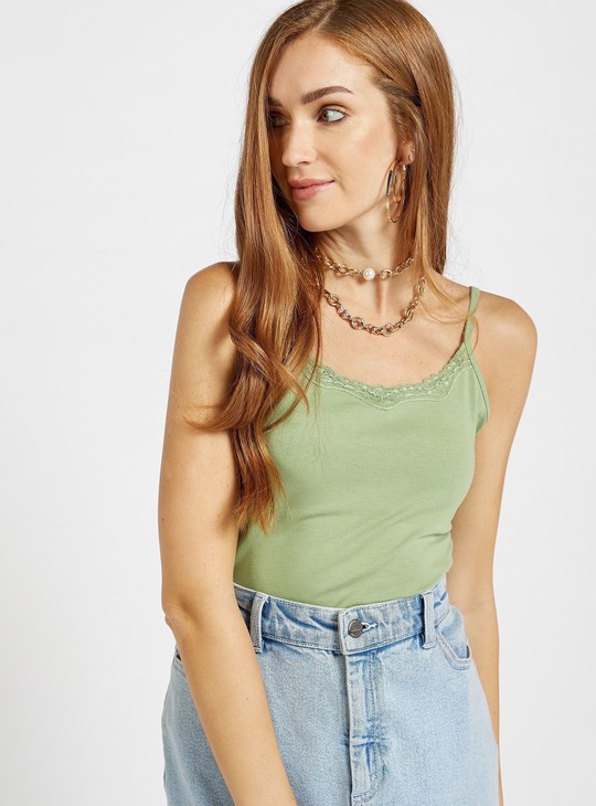 Lace Detail Camisole with Scoop Neck
