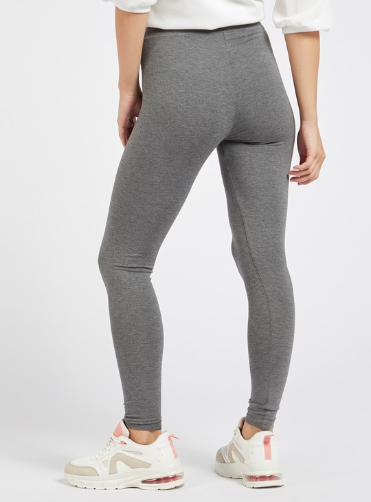 Solid Anti-Pilling Leggings with Elasticised Waistband
