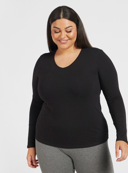 Solid T-shirt with V-neck and Long Sleeves