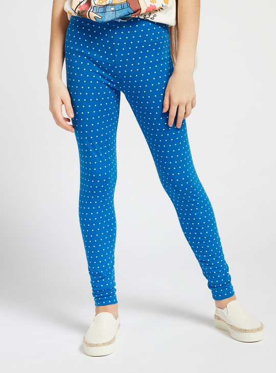 All-Over Polka Dot Print Leggings with Elasticised Waistband
