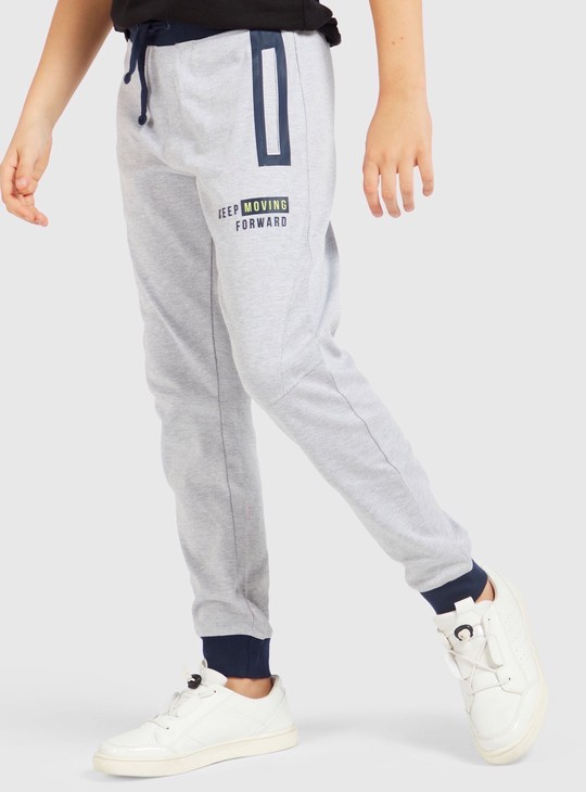 Typographic Print Cut and Sew Joggers with Drawstring Closure