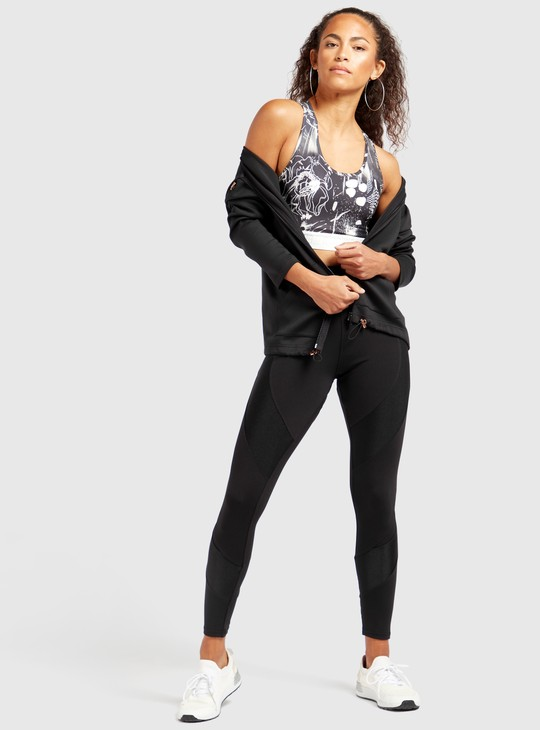 Slim Fit Solid High-Rise Leggings with Mesh Panel Detail