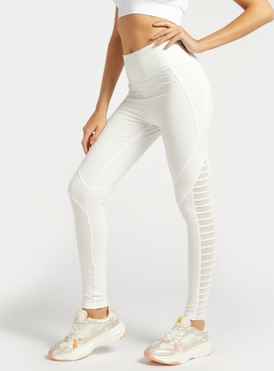 Slim Fit Solid High-Rise Leggings with Mesh Detail