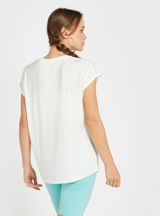 Printed Crew Neck T-shirt with Extended Short Sleeves