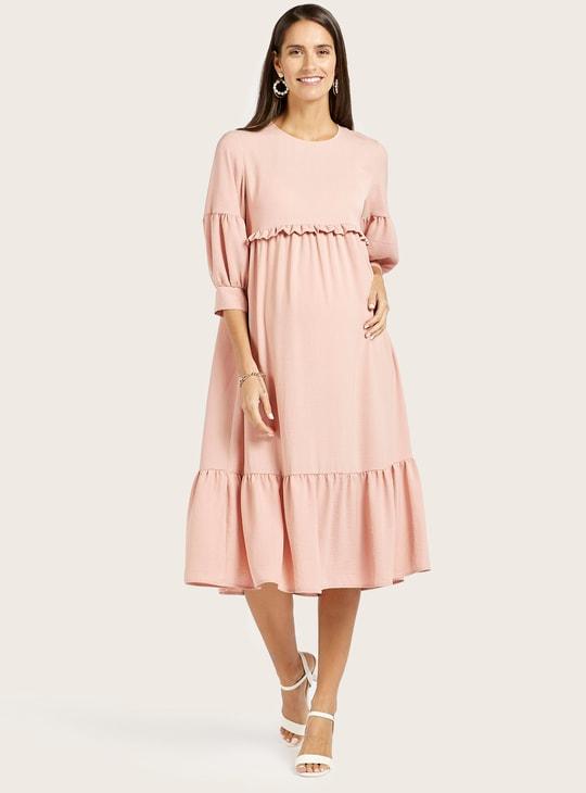 فستان حمل ميدي سادة بتفاصيل كشكش وأكمام بيشوب