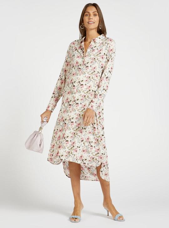 فستان قميص ميدي للحمل بأكمام طويلة وطبعات زهور