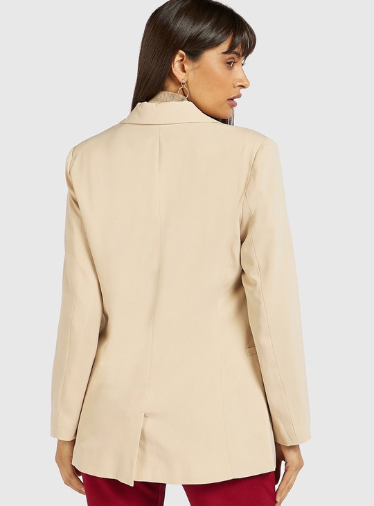 Solid Jacket with Button Detail and Long Sleeves
