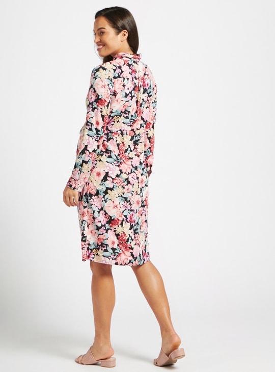فستان قميص للحوامل ميدي بأكمام طويلة وطبعات أزهار