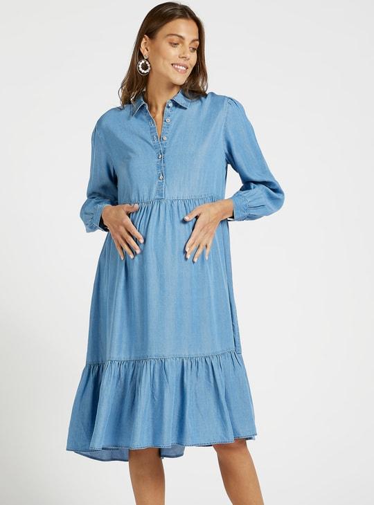 فستان حمل دينم سادة متعدد الطبقات بياقة عادية وأكمام طويلة
