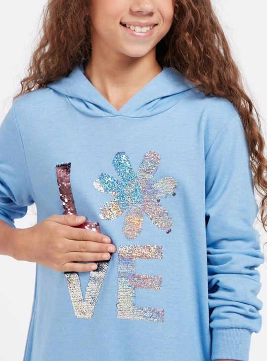 Sequin Detail Hooded Sweat Dress with Long Sleeves