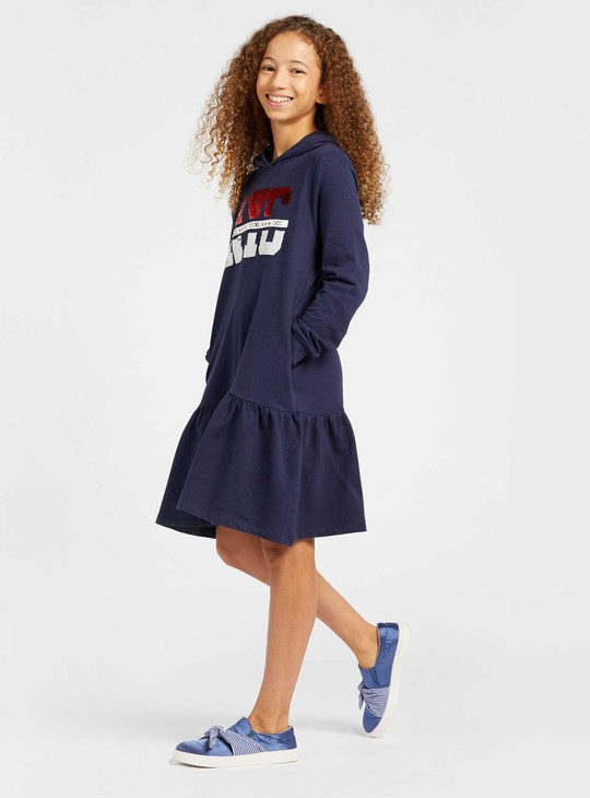 Sequin Detail Sweat Dress with Long Sleeves and Hood