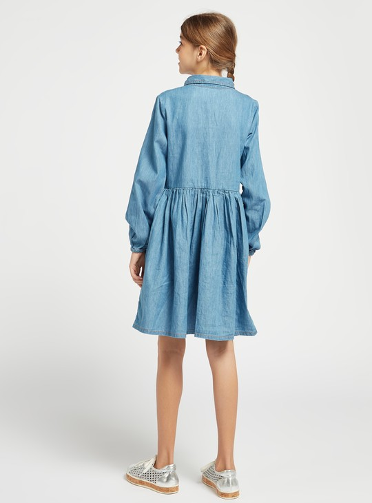 Solid Chambray Shirt Dress with Long Sleeves and Button Closure