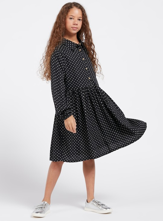 Polka Dotted Knee Length Shirt Dress with Collar and Long Sleeves