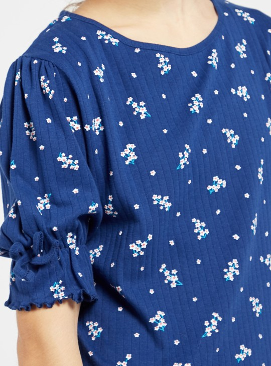 Floral Print Ribbed Top with Round Neck and Puffed Sleeves