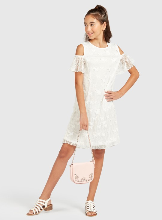 Lace Detail Cold Shoulder Dress with Short Sleeves