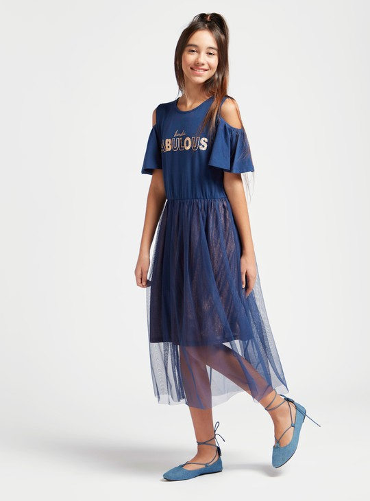 Text Print Midi Dress with Round Neck and Cold Shoulders