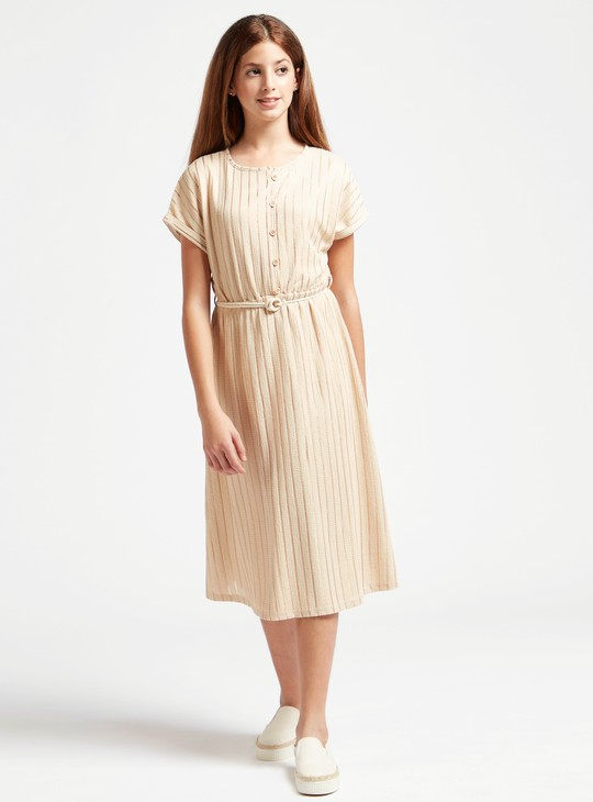 Striped Midi Dress with Round Neck and Extended Sleeves