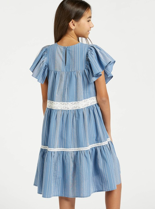 Striped Dress with Frill Sleeves and Schiffli Detail