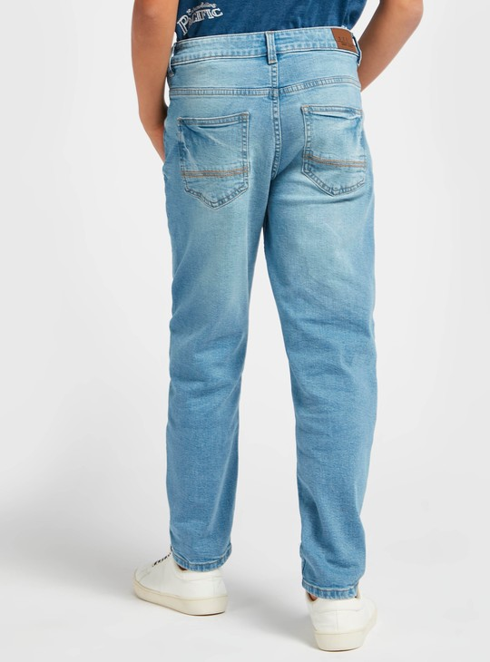 Distressed Full-Length Jeans with Button Closure and Pockets
