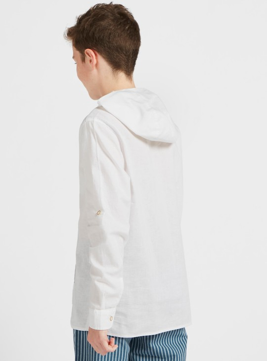 Solid Shirt with Hood and Long Sleeves