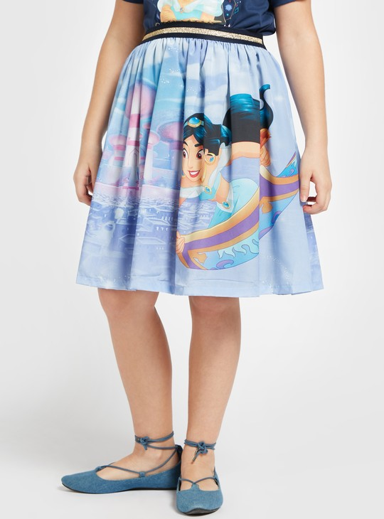 Jasmine Print T-shirt with Short Sleeves and Pleated Skirt Set