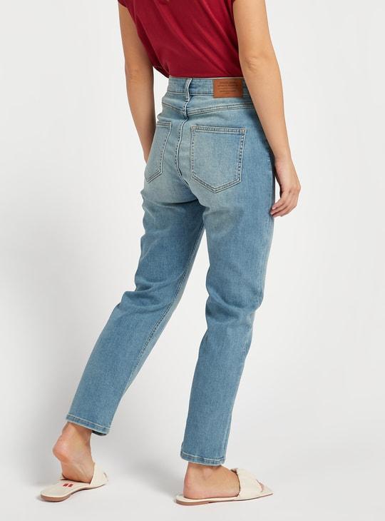 بنطلون جينز مستقيم سادة بخصر مرتفع وجيوب وحلقات حزام