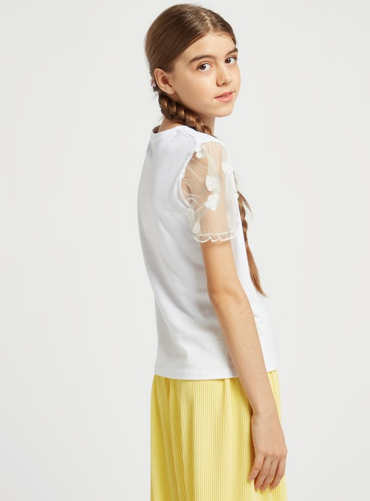 Embellished Detail T-shirt with Round Neck and Floral Puff Sleeves
