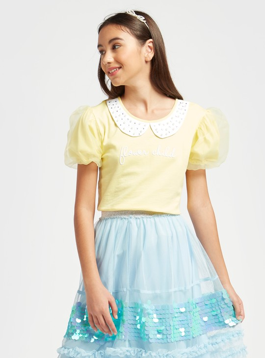 Embellished T-shirt with Peter Pan Collar and Short Puffed Sleeves