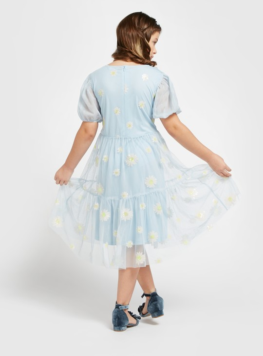 Sequinned Knee Length Daisy Dress with Round Neck and Short Sleeves