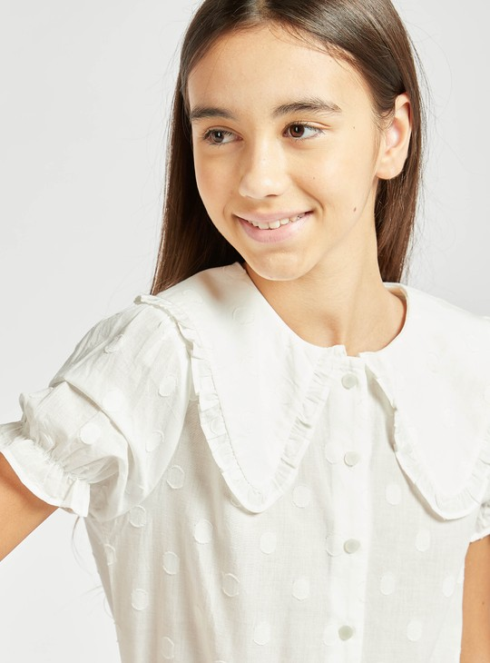Polka Dots Peter Pan Top with Round Neck and Short Sleeves