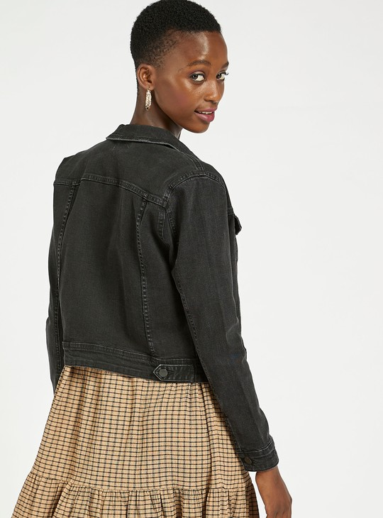 Slim Fit Solid Denim Jacket with Long Sleeves and Pockets