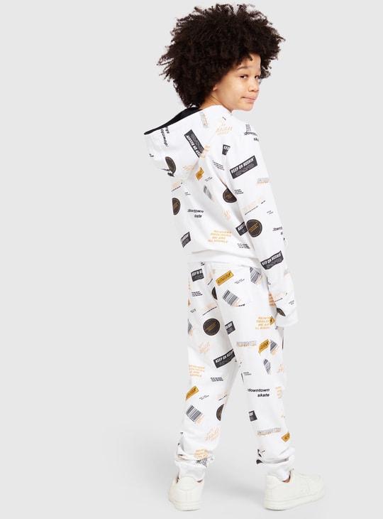 All-Over Printed Hooded Sweatshirt and Full Length Jog Pants