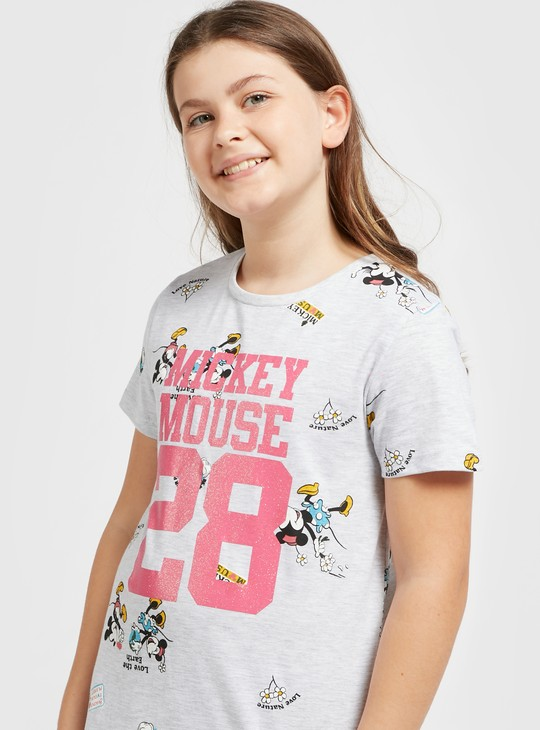 Mickey Mouse Print Dress with Pocket Detail and Short Sleeves