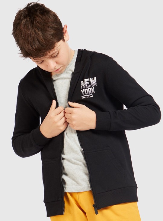 Printed Hooded Neck Jacket with Long Sleeves and Zipper Closure