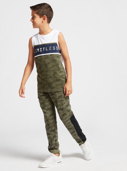 Camouflage Print Cut and Sew Jog Pants with Pockets