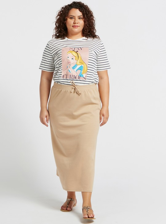 Alice Striped Longline T-shirt with Round Neck and Short Sleeves