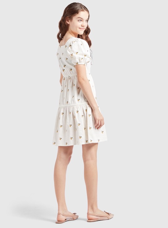 Embroidered Dress with Square Neck and Puff Sleeves