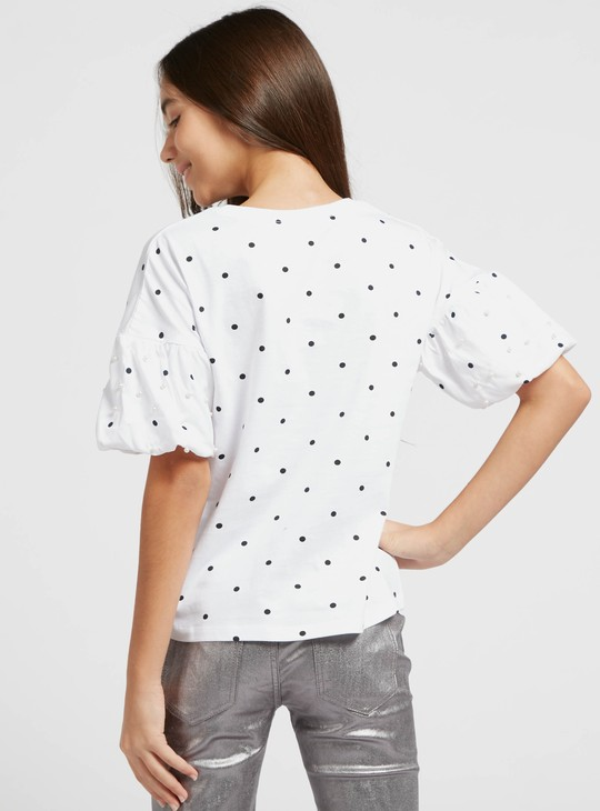 Polka Dot Print T-shirt with Round Neck and Embellished Detail