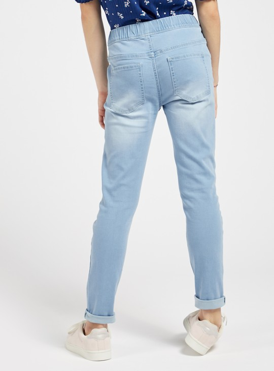 Solid Jeggings with Pockets and Elasticised Waistband