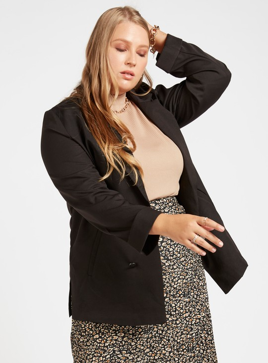 Solid Blazer with Long Sleeves and Pocket Detail