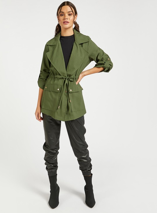 Solid Parka Jacket with Pocket Detail and Drawstring