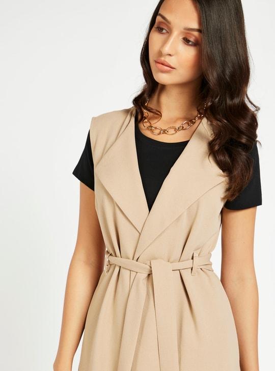 Solid Sleeveless Jacket with Belt