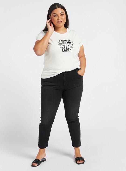 Skinny Fit Solid High-Rise Cropped Jeans with Pocket Detail