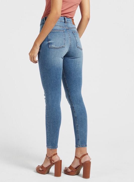بنطلون جينز سكيني بخصر مرتفع و5 جيوب