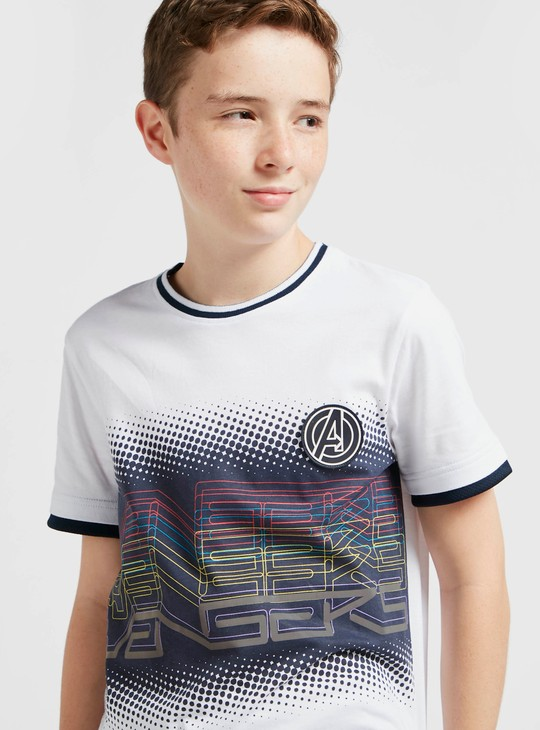 Avengers Print Round Neck T-shirt with Short Sleeves